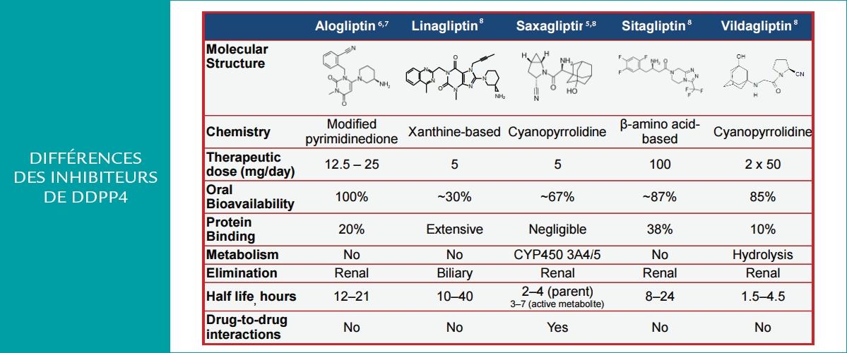 Les différences des inhibiteurs de DDPP4