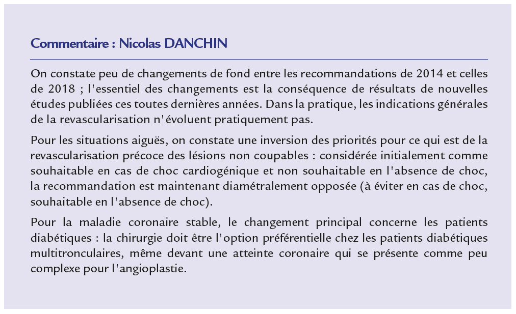 Recommandations ESC 2018 - commentaire de N. Danchin