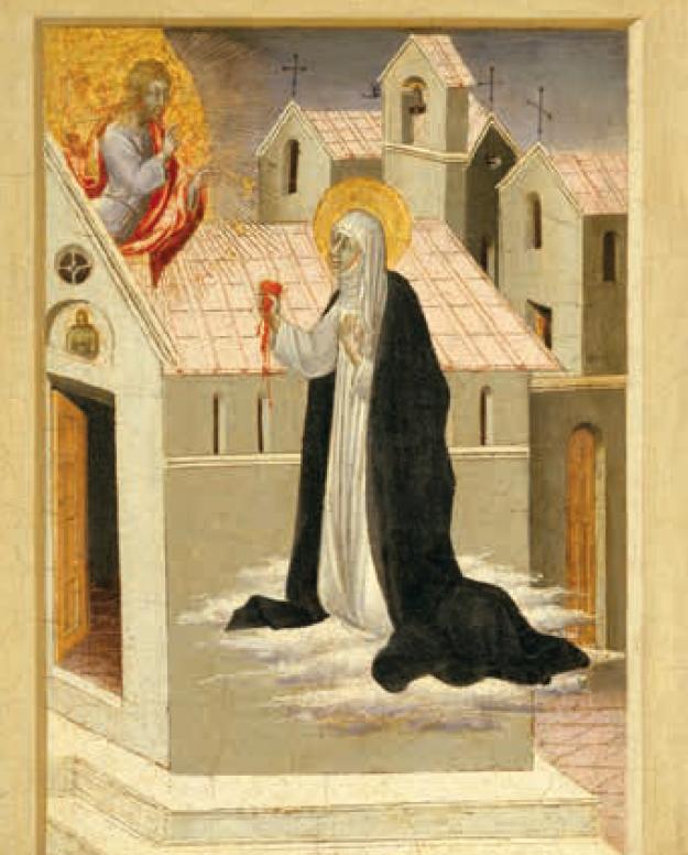 Sainte catherine offrant son coeur au Christ